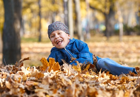 boy lie on yellow leaves in autumn park, bright sunny day, fallen leaves on background Stock Photo