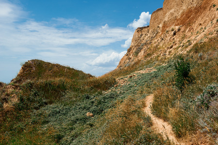 path to high hill by the sea, beautiful coastal landscape, travel concept