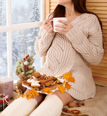 pregnant woman sitting near the window and drinking tea, beautiful winter landscape with snowy forest is outside the window, christmas decoration Stock Photo