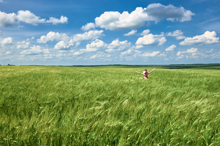 child walks along the wheat field, bright sun, beautiful summer landscape Banco de Imagens