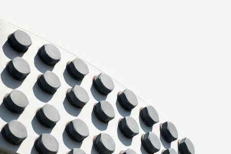 large head bolts on white metal construction as background - engineering concept 스톡 콘텐츠