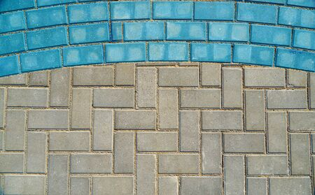 grey and blue paving tiles for background or texture