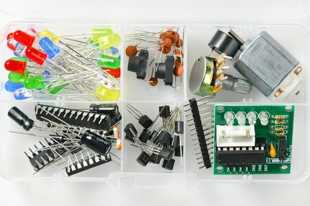 closeup of electronic component, unit, part, radio equipment and digital microchip - DIY kit for learning, training and development of electric circuits