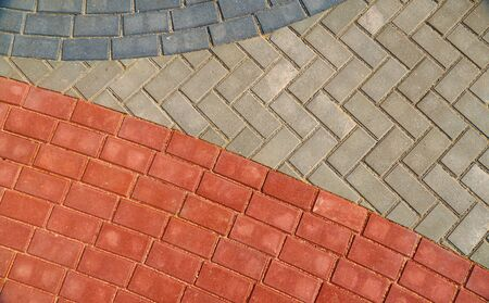 red and gray paving tiles for background or texture Stockfoto