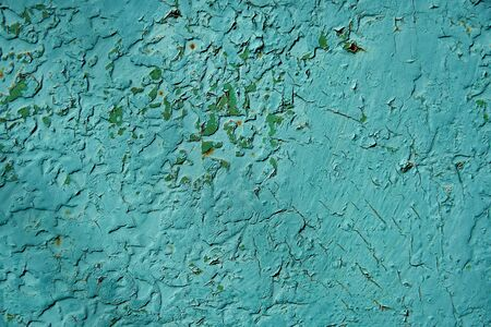 Old rusty and scratched surface of iron - grunge green texture or background, metal with scratches