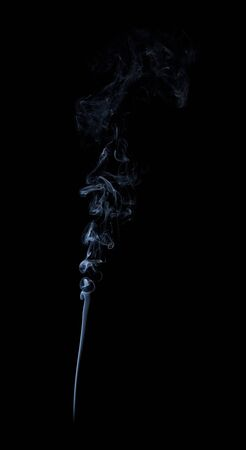 Photo of real white smoke on black background
