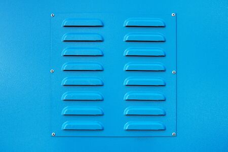 blue square metal ventilation grate, square shape, new, close view, delivers fresh air and cools Banque d'images