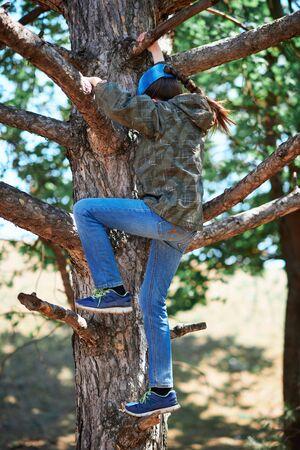 Girl playing outdoor, climbing a tree, bright sunlight, beautiful day