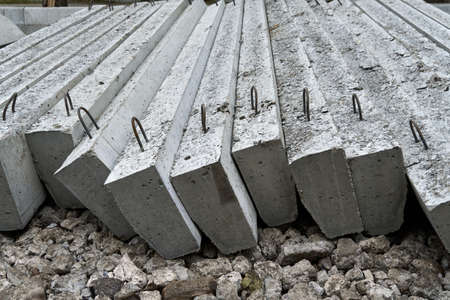 new concrete blocks and curbs for road construction