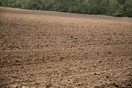 plowed field and blue sky, soil and clouds of a bright sunny day - concept of agriculture Imagens