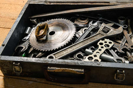 set of old wrenches in a wooden box, hand tools for DIY and repairing