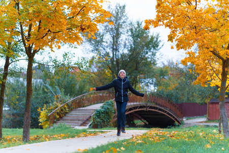 a girl walks along the path and enjoys autumn, maples with yellow leaves and a bridge over the river