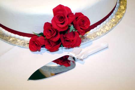 バラのウエディング ケーキ 写真素材