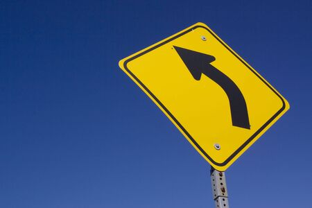 curve road: Curve ahead road sign Stock Photo