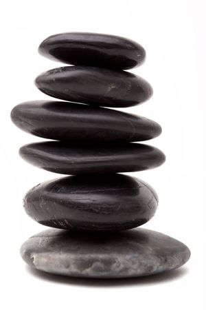 lastone therapy: Stack of lastone therapy rocks on white background
