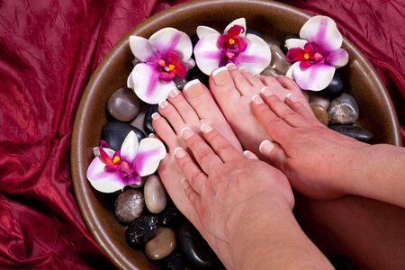 Manicured hands and pedicured feet of a woman Reklamní fotografie