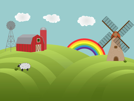 Farmland with barn, windmill and sheep grazing Illustration