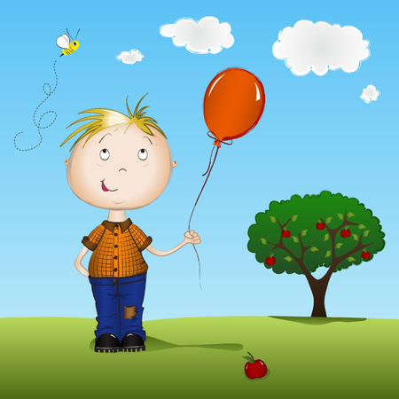 Happy boy holding a balloon in front of apple tree Illustration