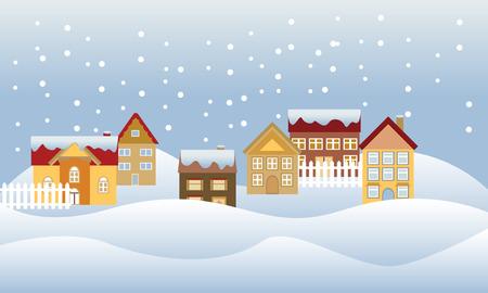 閑静な住宅地に雪の降る