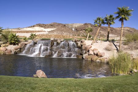 cascade: Waterfall and palm trees in desert oasis