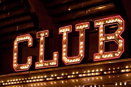 club: Luci al neon club segno  Archivio Fotografico