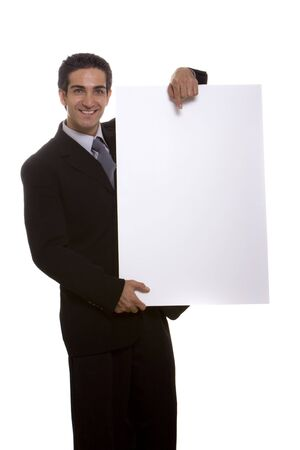 Businessman holding a white blank board