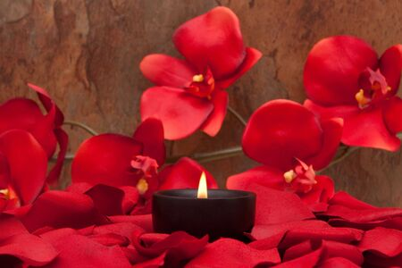 Candle surrounded with red rose petals and orchid Stock Photo - 6559373