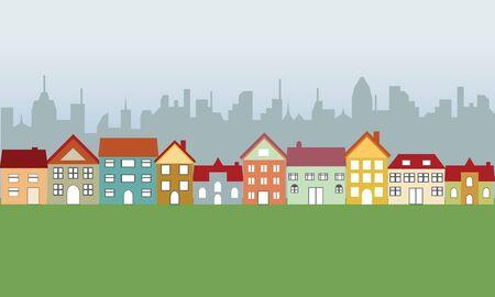 Suburban houses in neighborhood and big city photo