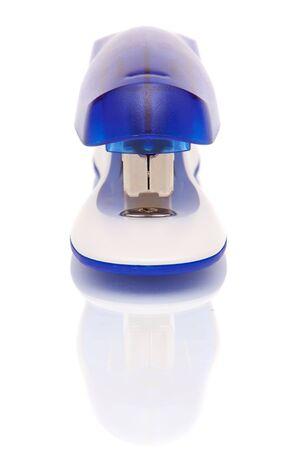 office stapler: Blue office stapler on white background