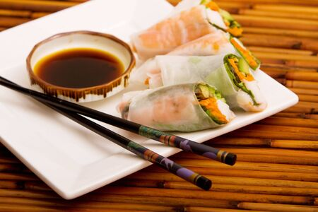 Plate of Japanese spring rolls Stock Photo - 6600112