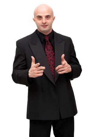 Young business man in dark suit