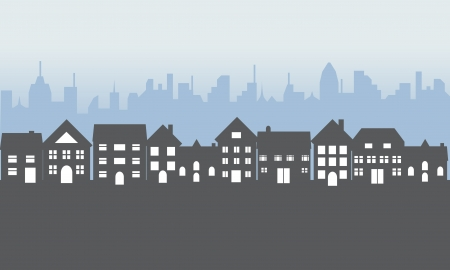 woonwijk: Wijk met voorst eden huizen in de nacht