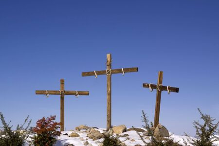 Three wooden crosses outdoors