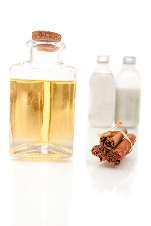 Aromatherapy oils on white background Stock Photo - 6668840