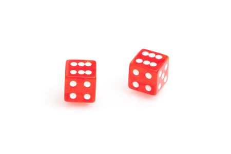 Pair of red dices on white background 版權商用圖片