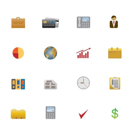 Business objects and symbols as icon set photo