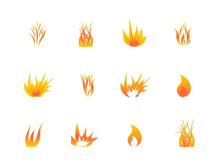 Flames in various shapes and styles icon set Stock fotó