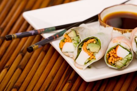 Spring rolls with soy sauce photo