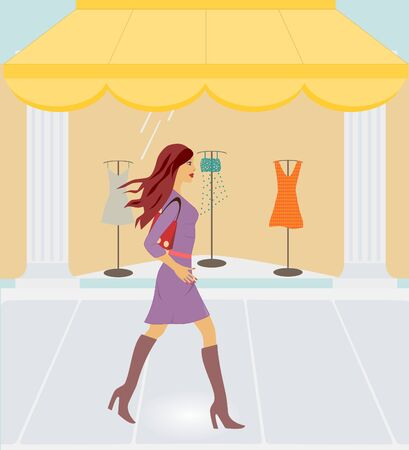 retail display: Beautiful sexy woman walking by clothing store Stock Photo