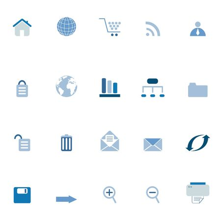 Internet, e-commerce, web icons in blue tones Stock Photo - 6669388