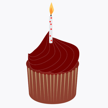 Delicious chocolate cupcake with birthday candle 向量圖像