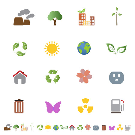 Environment related clean energy and ecology icon set Stock Vector - 6743666