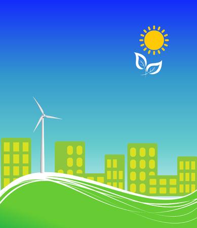 풍력 터빈과 깨끗한 대체 에너지를 사용하는 도시 일러스트