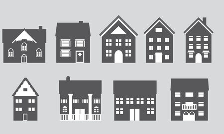 architectural styles: Houses with different architectural styles Illustration