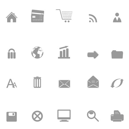 Web, internet and e-commerce related icon set silhouette