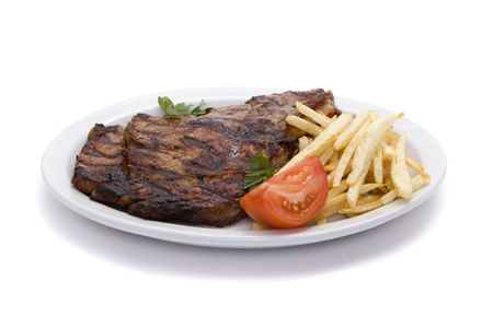 french fries plate: Delicious steak and french fries