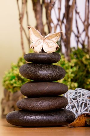 lastone therapy: Lastone therapy rocks on natural background Stock Photo