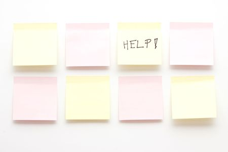 Post it notes, one has help written on Stock Photo - 6743673