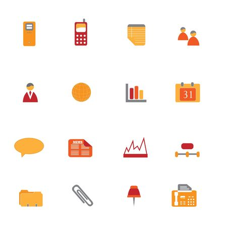 Business icons and symbols in orange and red tones