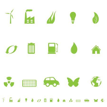 Jeu de symboles environnementaux et écologiques icône Banque d'images - 6797749